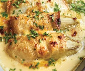 Chicory with halibut and white wine sauce