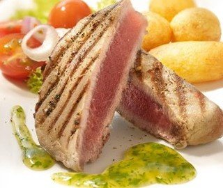 Grilled Tuna Steaks with Herb Sauce